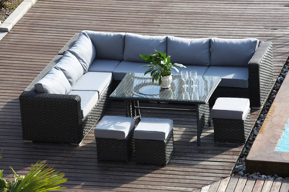 PAPAVER RANGE 9 Seater Rattan Corner Sofa U0026Dining Set Garden Furniture Dark  Grey